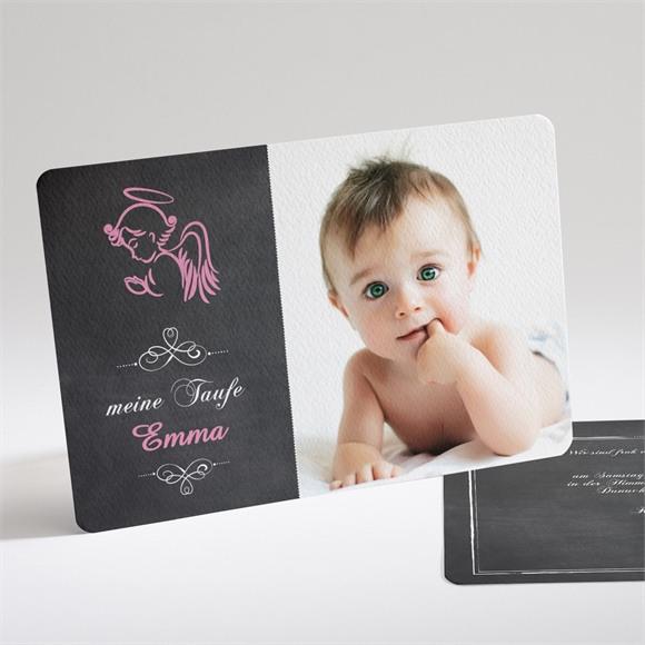 Einladungskarte Taufe Rosa Engel réf.N14121
