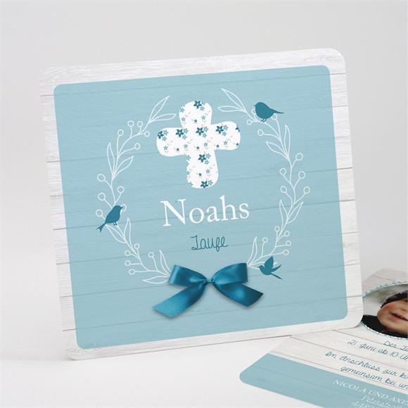 Einladungskarte Taufe Blaue Schleife réf.N31197