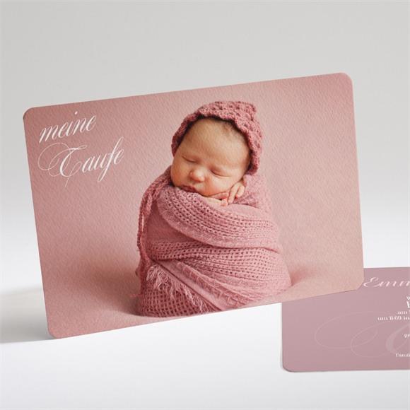 Einladungskarte Taufe Klassik rosa réf.N14183