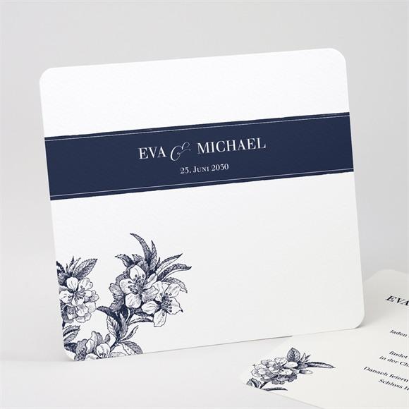 Einladungskarte Hochzeit Gravur Marineblau réf.N311184