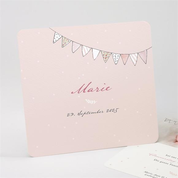 Geburtskarte Fahnengirlande Rosa réf.N311212