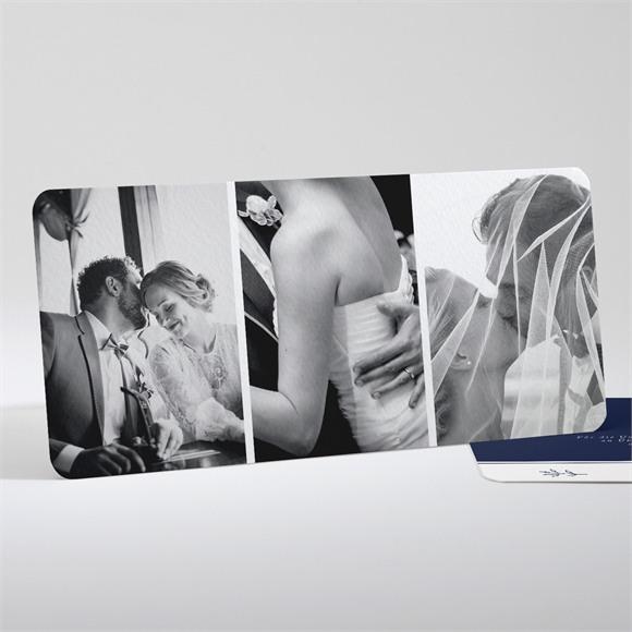 Danksagungskarte Hochzeit Schick in Blau réf.N13183