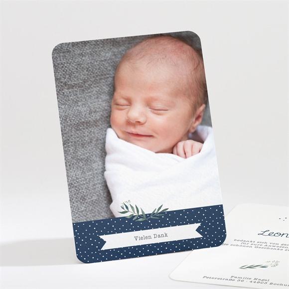 Danksagungskarte Taufe Pünktchen blau réf.N211179