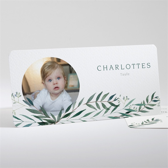 Einladungskarte Taufe Pflanzenschmuck réf.N13198