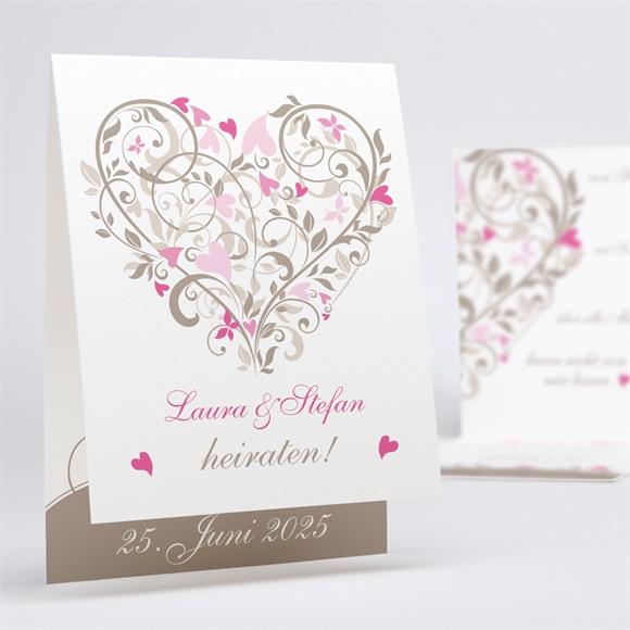 Einladungskarte Hochzeit Herzschlag réf.N50129