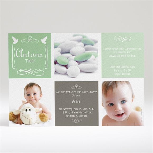 Einladungskarte Taufe Grünes Patchwork réf.N14010