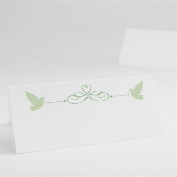 Tischkarte Taufe Grünes Patchwork réf.N440246
