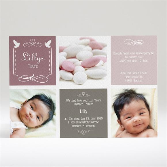 Einladungskarte Taufe Rosa Patchwork réf.N14011