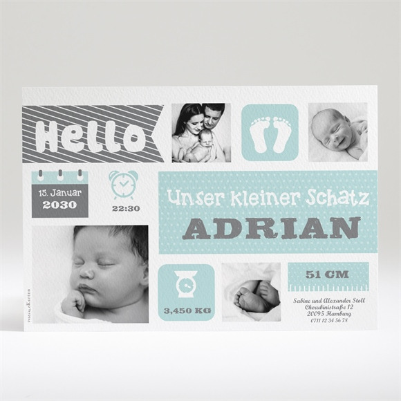 Geburtskarte Hallo Trend réf.N14018