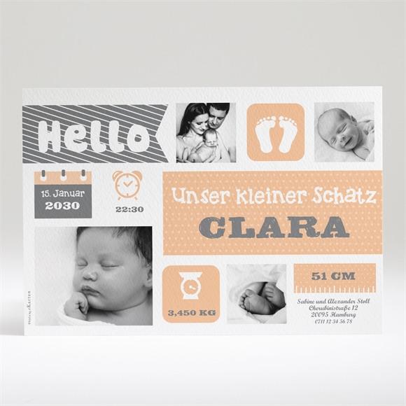 Geburtskarte Korallengrau und Illustration réf.N14019