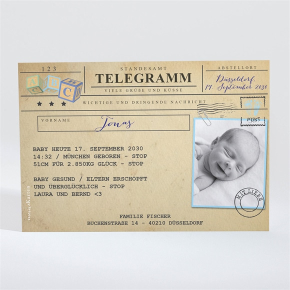 Geburtskarte Telegramm Jungen réf.N11015