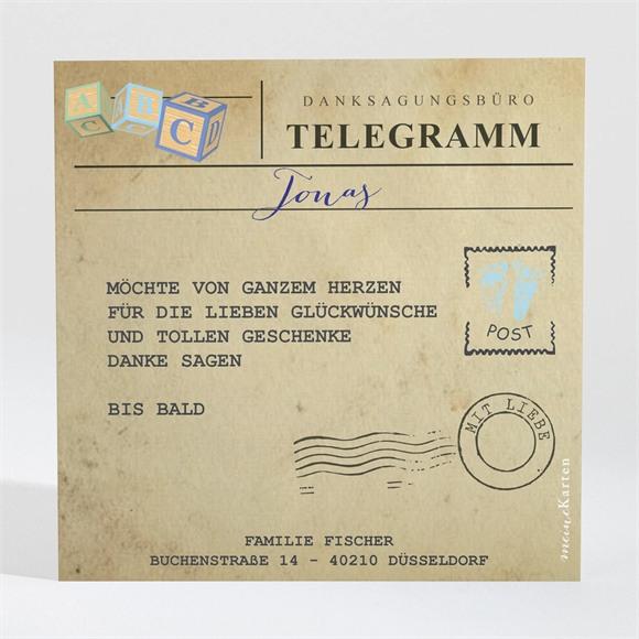 Danksagungskarte Geburt Sein Telegramm réf.N300414