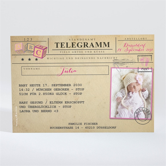 Geburtskarte Mein Telegramm réf.N11016