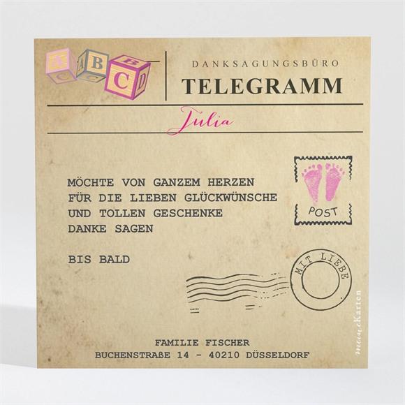 Danksagungskarte Geburt Mein Telegramm réf.N300415