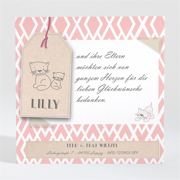 Danksagungskarte Geburt Kätzchenkarte réf.N300448