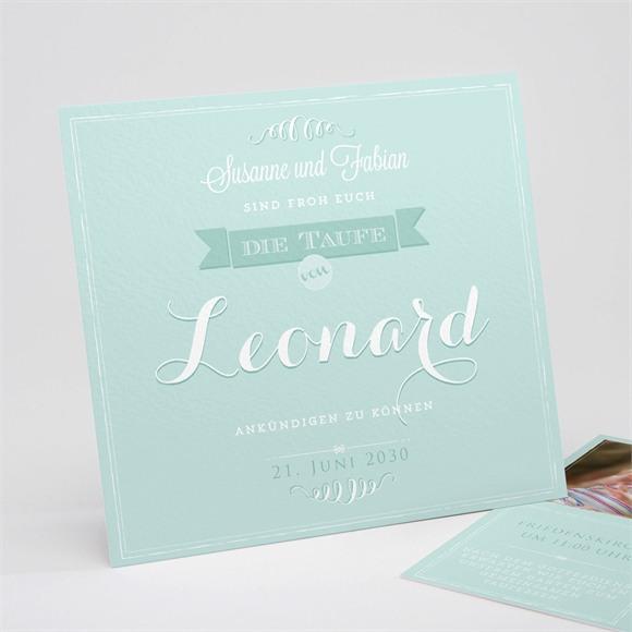 Einladungskarte Taufe Grüne Kalligrafie réf.N311126