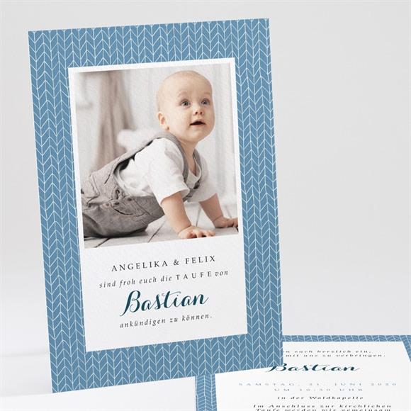 Einladungskarte Taufe Blaues Muster réf.N24184