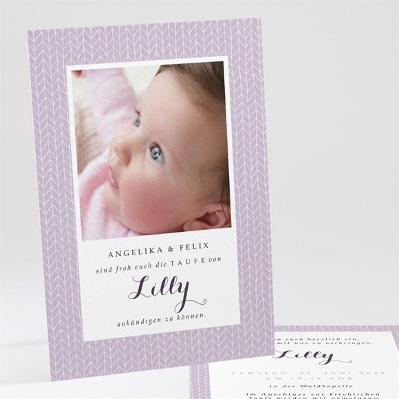 Einladungskarte Taufe Rosa Muster réf.N24185