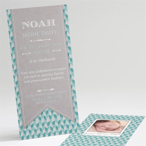 Einladungskarte Taufe Blaue Mosaik réf.N22127