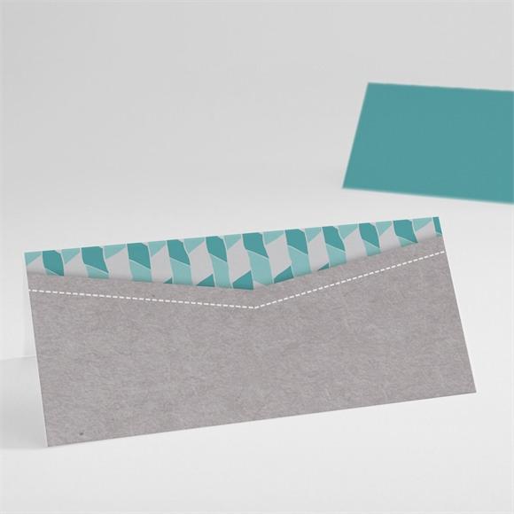 Tischkarte Taufe Blaue Mosaik réf.N440402