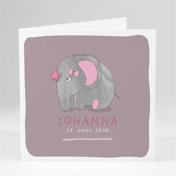 Geburtskarte Rosa Elefant réf.N45102