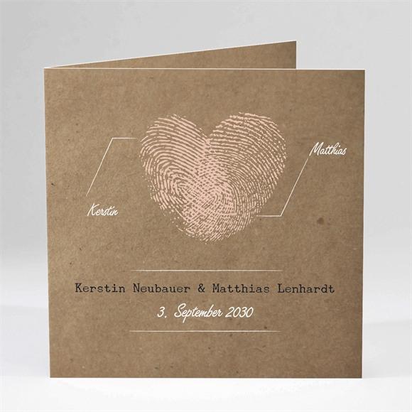 Einladungskarte Hochzeit Herzabdruck réf.N45121