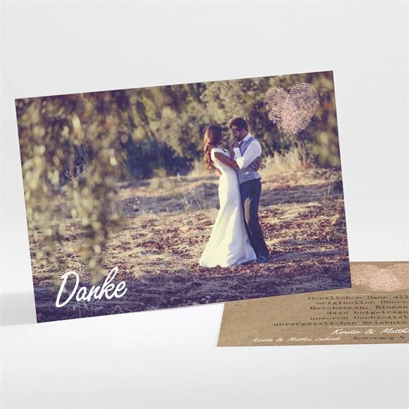 Danksagungskarte Hochzeit Herzabdruck réf.N11168