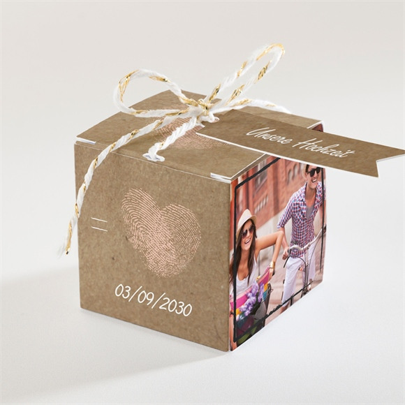 Zuckermandel Schachtel Hochzeit Herzabdruck réf.N34008