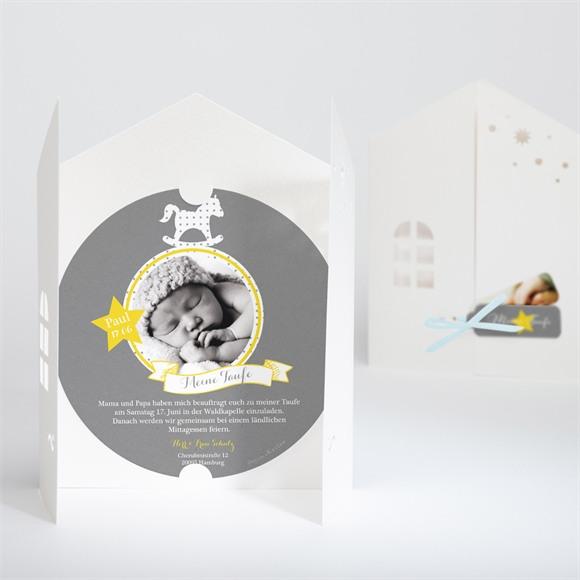 Einladungskarte Taufe Schaukelpferd gelb réf.N90017