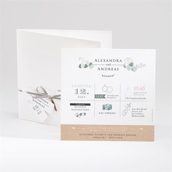 Einladungskarte Hochzeit Silber-Linde réf.N91044
