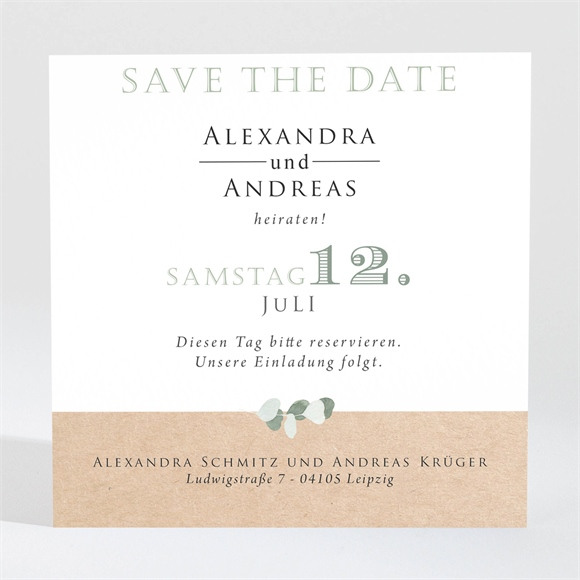 Save the Date Hochzeit Silber-Linde réf.N3001343