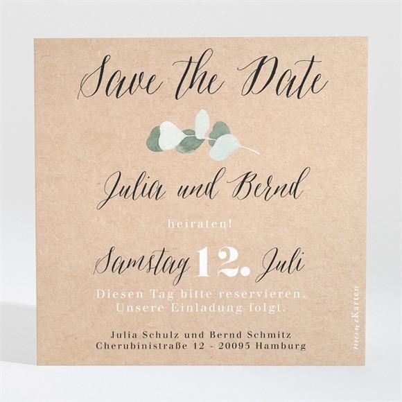 Save the Date Hochzeit Eukalyptus rustikal réf.N3001346