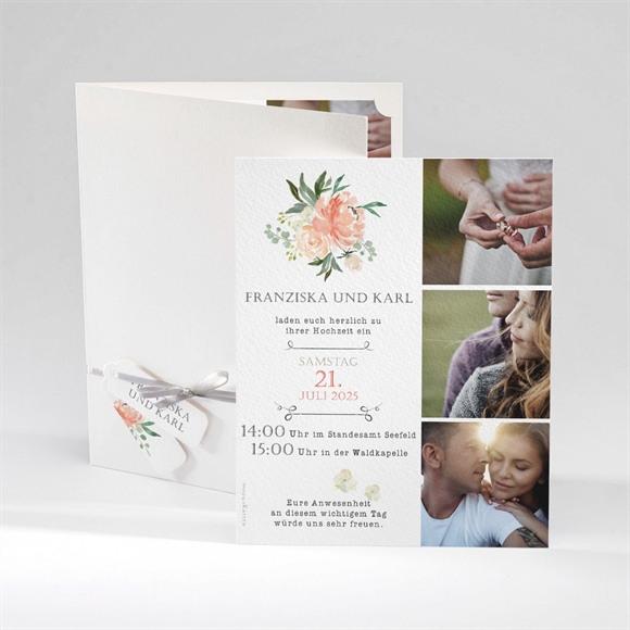 Einladungskarte Hochzeit Rosen Romantik réf.N92038