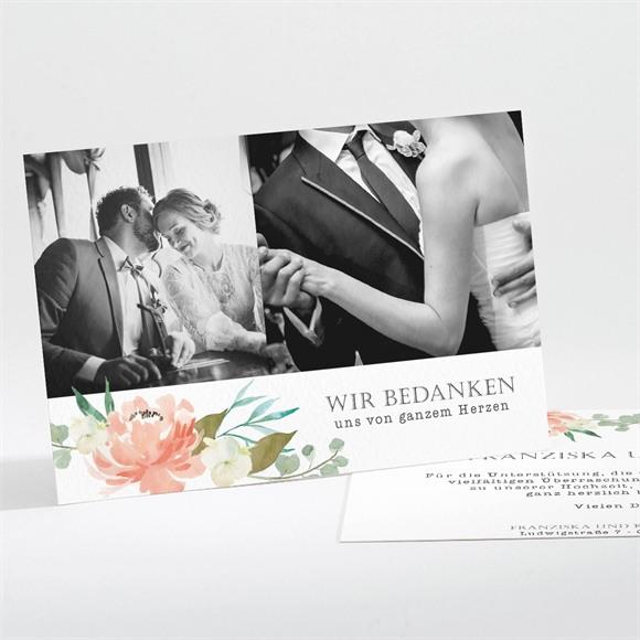 Danksagungskarte Hochzeit Romantische Rosen réf.N111193