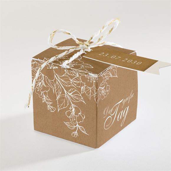 Zuckermandel Schachtel Hochzeit Weiße Blüten réf.N340102
