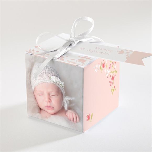 Zuckermandel Schachtel (Taufe) Zarte rosa Blumen réf.N340109