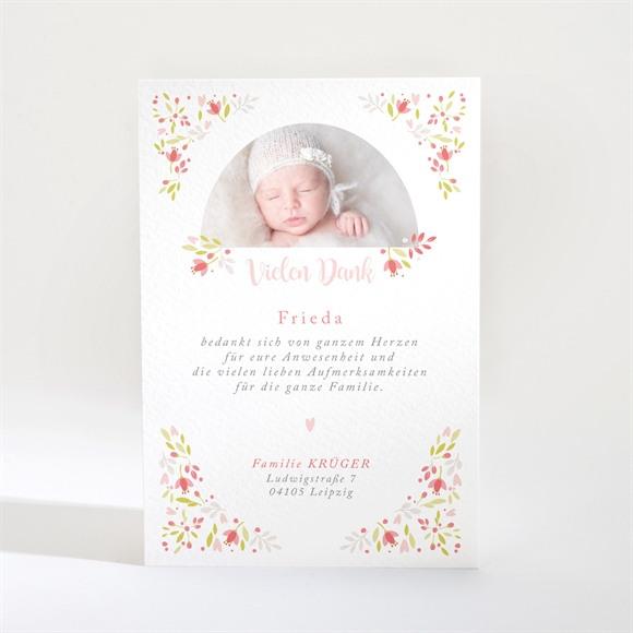 Danksagungskarte Taufe Zarte rosa Blumen réf.N21015