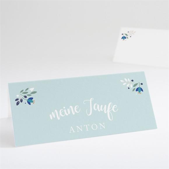 Tischkarte Taufe Zarte blaue Blumen réf.N440662