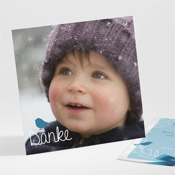 Danksagungskarte Taufe Blaue Schleife réf.N30141