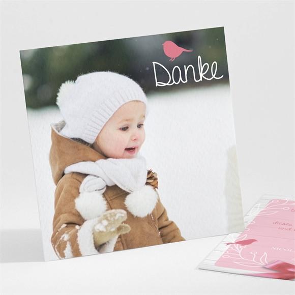 Danksagungskarte Taufe Rosa Schleife réf.N30142