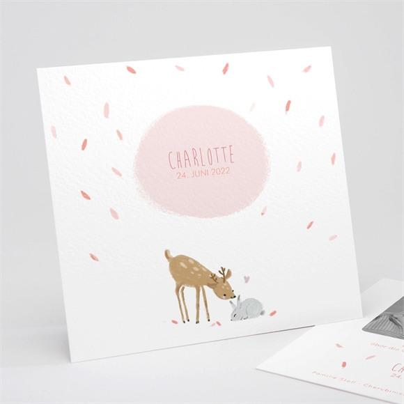 Geburtskarte Waldtiere Rosa réf.N311210