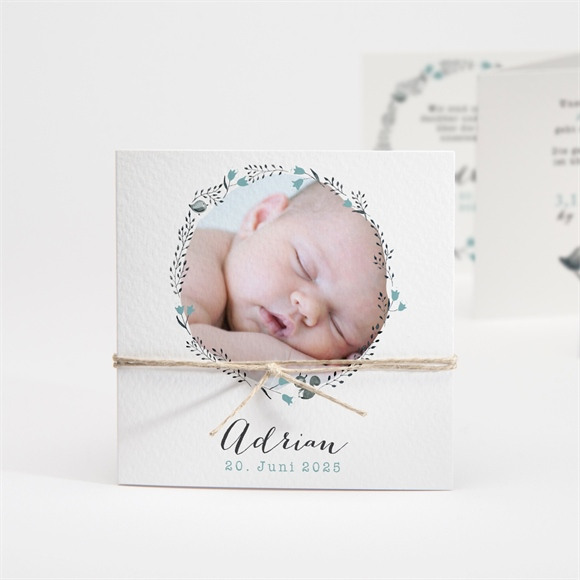 Geburtskarte Blumenkranz Blau réf.N83113