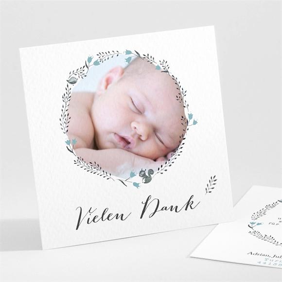 Danksagungskarte Geburt Blumenkranz Blau réf.N30146