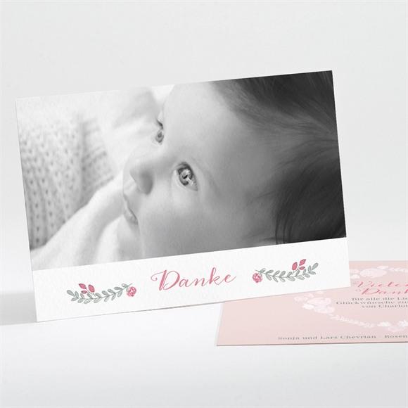 Danksagungskarte Geburt Mohnblumen Kranz réf.N111212