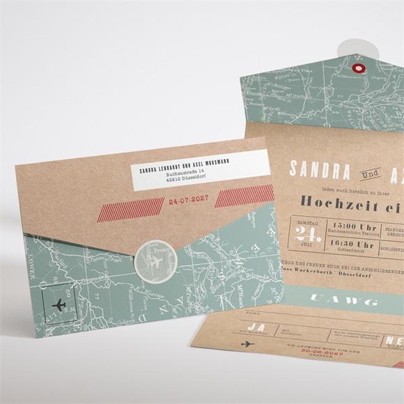 Einladungskarte Hochzeit Flugticket réf.N97101