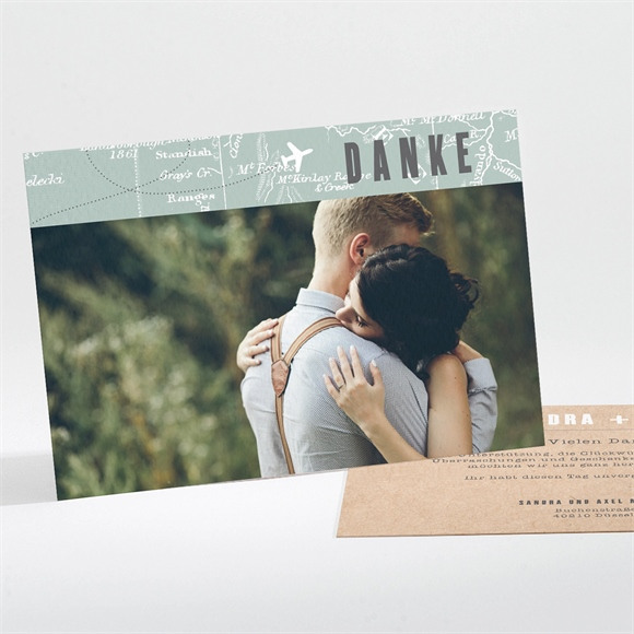 Danksagungskarte Hochzeit Flugticket réf.N111225