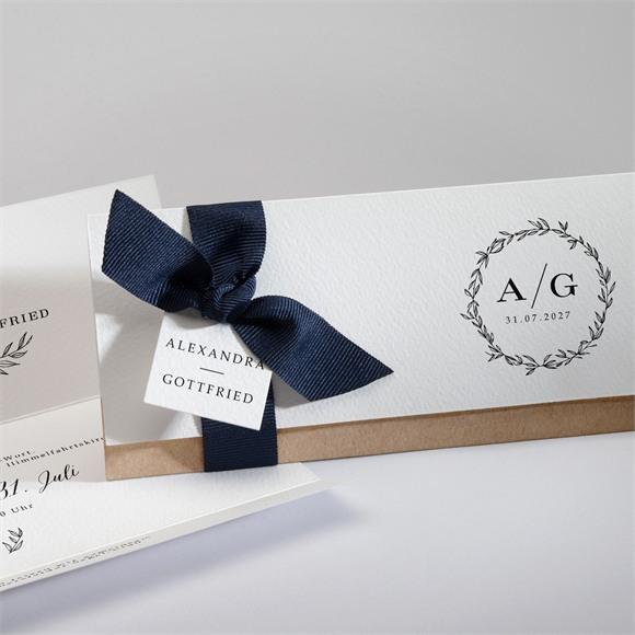 Einladungskarte Hochzeit Schick mit Schleife réf.N94107