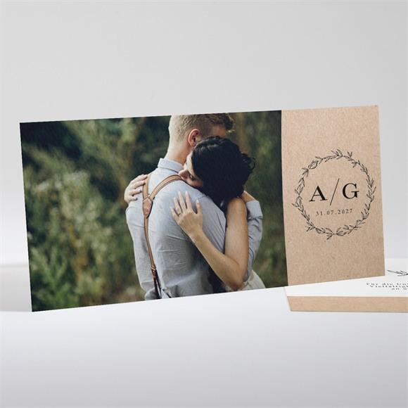 Danksagungskarte Hochzeit Chic mit Schleife réf.N13181