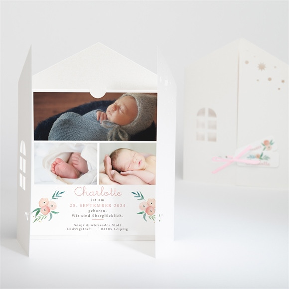 Geburtskarte Glückshäuschen réf.N91047