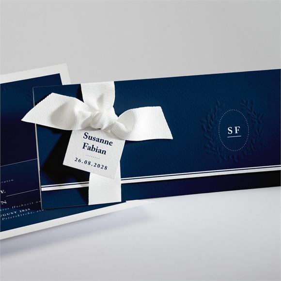 Einladungskarte Hochzeit Chic in Blau réf.N94116